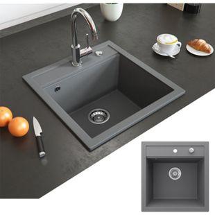 Bergström Granit Spüle Küchenspüle Einbauspüle Spülbecken 490x500mm Grau - Bild 1