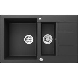 Bergström Granit Spüle Küchenspüle Einbauspüle Spülbecken 800x500mm Schwarz - Bild 1