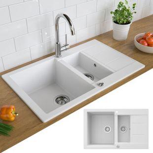 Bergström Granit Spüle Küchenspüle Einbauspüle Spülbecken 800x500mm Weiß - Bild 1
