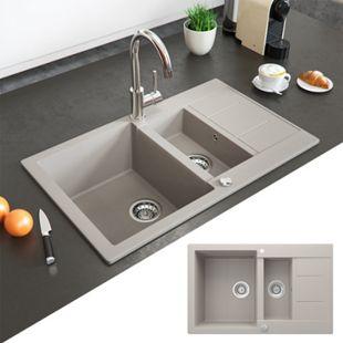 Bergström Granit Spüle Küchenspüle Einbauspüle Spülbecken 800x500mm Beige - Bild 1