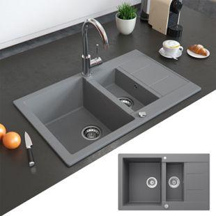 Bergström Granit Spüle Küchenspüle Einbauspüle Spülbecken 800x500mm Grau - Bild 1