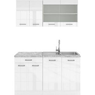 VICCO Küchenzeile SINGLE Einbauküche 140 cm Küchen Weiß Hochglanz R-LINE - Bild 1