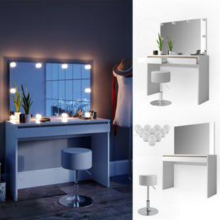 Vicco Schminktisch Emma Frisiertisch Frisierkommode Kommode Weiß Sonoma inklusive Spiegel, Hocker und LED-Lichterkette - Bild 1