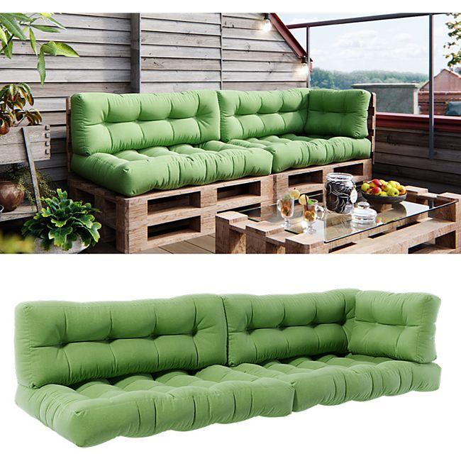 Vicco Palettenkissen-Set 2x Sitzkissen + 2x Rückenkissen + Seitenkissen Flocke, verschiedene Farben - Bild 1