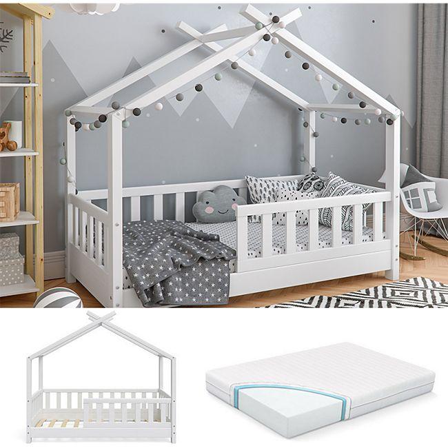 VitaliSpa Kinderbett Hausbett DESIGN 70x140cm Weiß Zaun inkl. Matratze 70x140cm - Bild 1