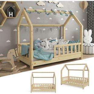 VitaliSpa Hausbett WIKI 70x140cm Zaun Natur Kinderbett Kinderhaus inkl. Matratze - Bild 1