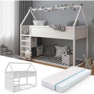 VitaliSpa Hochbett Pinocchio 90x200cm Kinderbett weiß Hausbett inkl 7-Zonen Matratze - Bild 1