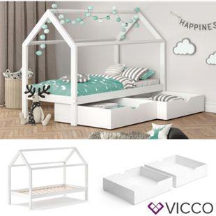 VITALISPA Kinderbett WIKI 90x200 cm Weiß Schlafplatz Schubladen Hausbett Kinderhaus - Bild 1