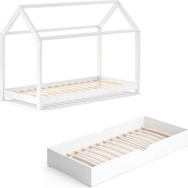 VITALISPA Kinderbett WIKI 90x200 cm Weiß Schlafplatz Unterbett Hausbett Kinderhaus - Bild 1