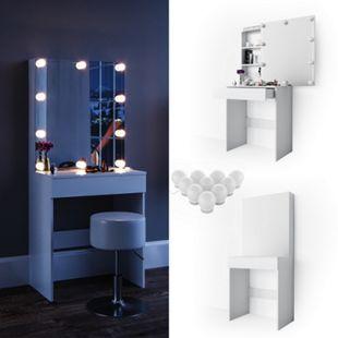 Vicco Schminktisch Melle Frisiertisch Kommode Frisierkommode Spiegel Weiß inklusive LED-Lichterkette - Bild 1
