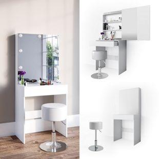 Vicco Schminktisch Melle Frisiertisch Kommode Frisierkommode Spiegel Weiß inklusive Hocker - Bild 1