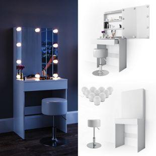 Vicco Schminktisch Melle Frisiertisch Kommode Frisierkommode Spiegel Weiß inklusive Hocker und LED-Lichterkette - Bild 1