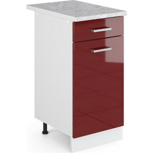 VICCO Schubunterschrank 40 cm Küchenzeile Unterschrank R-Line mit Arbeitsplatte Rot Hochglanz - Bild 1