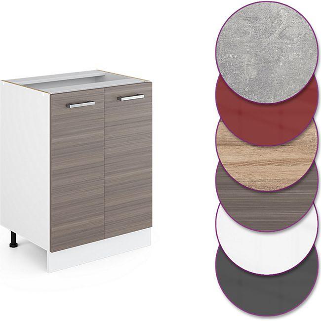 VICCO Unterschrank 60 cm Küchenschrank Küchenzeile Küchenunterschrank  R-Line ohne Arbeitsplatte Edelgrau