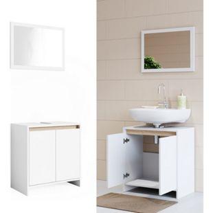 VICCO Badmöbel Set EMMA Weiß Sonoma Eiche - Spiegel Waschtischunterschrank - Bild 1