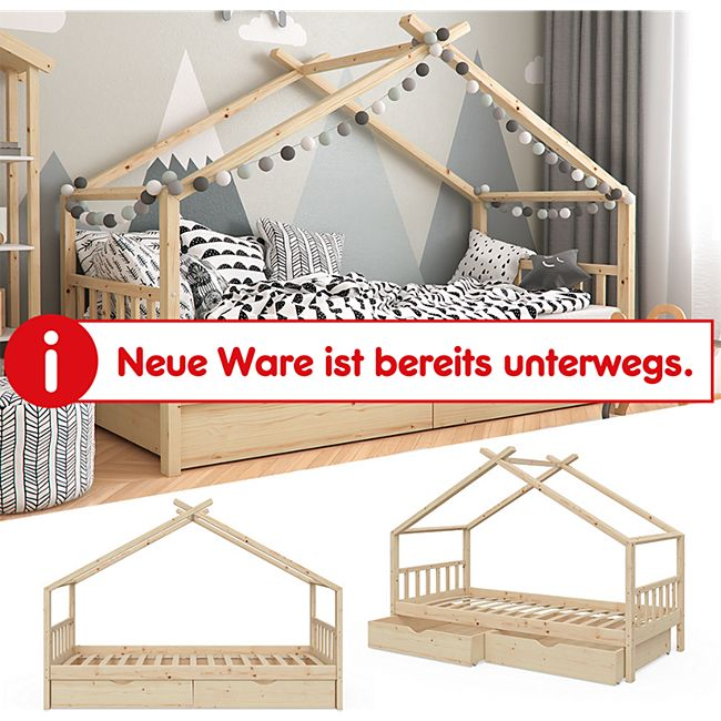 VITALISPA Kinderbett DESIGN Hausbett mit Schubladen und Lattenrost Klarlack 90x200cm - Bild 1