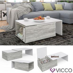 VICCO Couchtisch LEO 60x100cm Beton Optik Weiß Wohnzimmertisch Beistelltisch - Bild 1