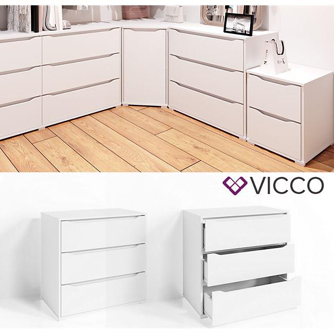 VICCO Kommode RUBEN Weiß 3 Schubladen 80cm Sideboard Mehrzweckschrank Schrank - Bild 1