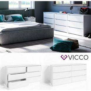 VICCO Kommode RUBEN Weiß 6 Schubladen 160 cm Sideboard Mehrzweckschrank Schrank - Bild 1