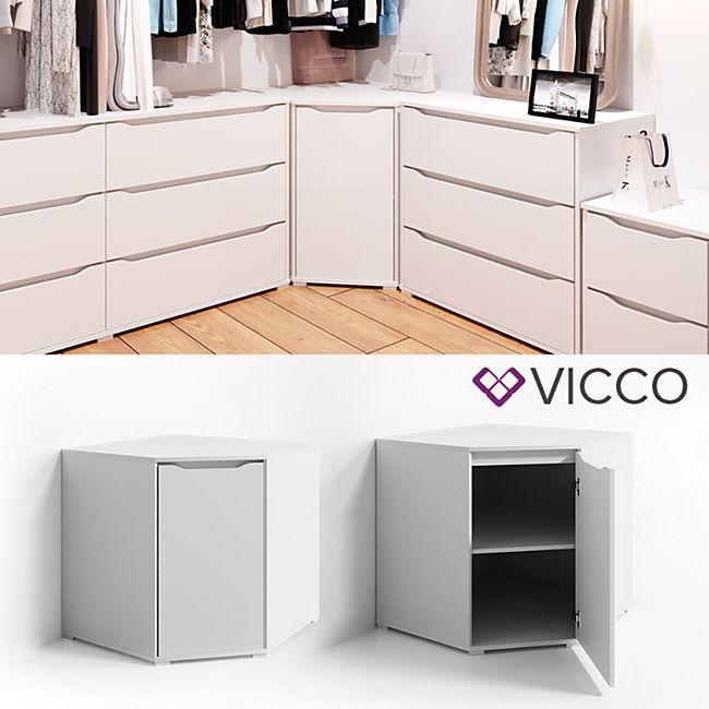 VICCO Eck Kommode RUBEN Weiß Sideboard Mehrzweckschrank Schrank Kleiderschrank - Bild 1