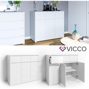 VICCO Kommode RUBEN Weiß Schubladen 120 cm Sideboard Mehrzweckschrank Schrank - Bild 1