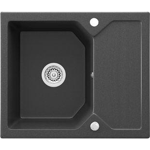 Bergström Granit Spüle Küchenspüle Einbauspüle Spülbecken 590 x 500mm Schwarz - Bild 1