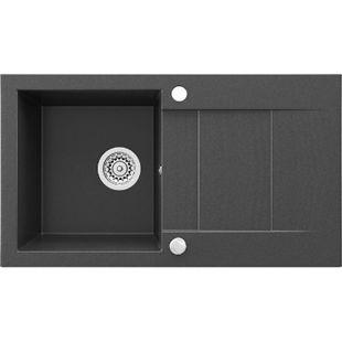 Bergström Granit Spüle Küchenspüle Einbauspüle Spülbecken 750x430 mm Schwarz - Bild 1