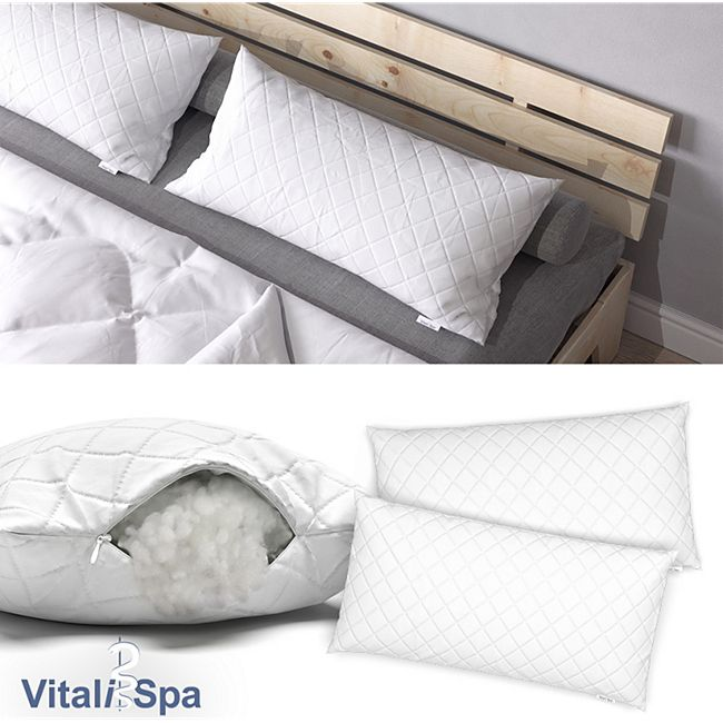 VitaliSpa 2er Set Microfaser Kopfkissen 40 x 80 cm Allergiker geeignet Kissen
