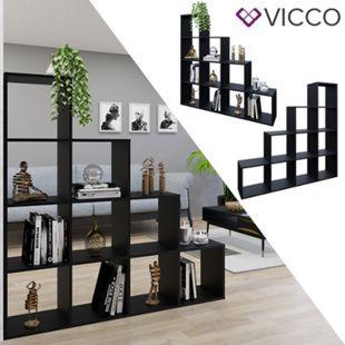VICCO Treppenregal 10 Fächer Schwarz - Raumteiler Stufenregal Bücherregal - Bild 1