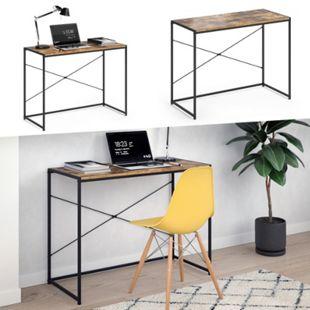 VICCO Loft Schreibtisch Fyrk Bürotisch Arbeitstisch PC Tisch Holz Natur 100 x 45 cm - Bild 1