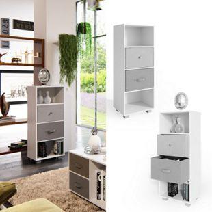 VICCO Standregal Hagen 4 Fächer Weiß inkl. Aufbewahrungsboxen Bücherregal Regal - Bild 1