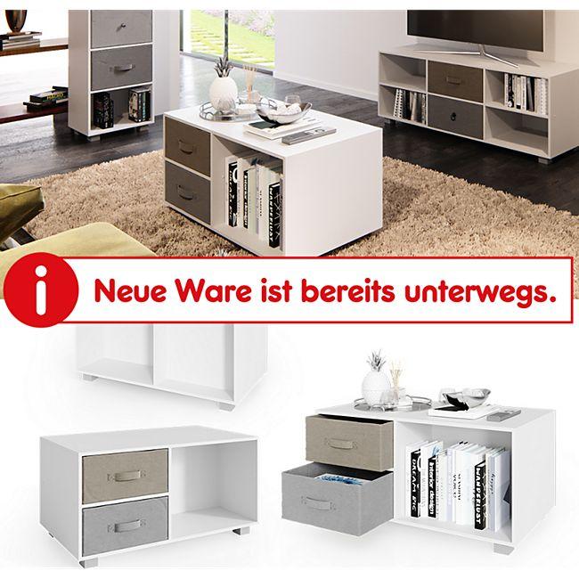VICCO Couchtisch Hagen weiß Wohnzimmertisch Sofatisch Beistelltisch 2 Schubladen - Bild 1