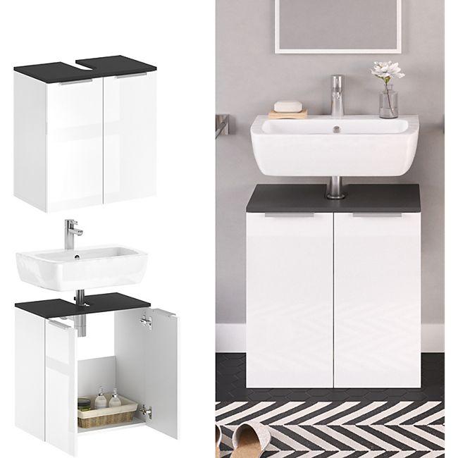 VICCO Waschtischunterschrank OTIS Weiß - Badezimmerschrank Hochschrank Regal Badregal Bad - Bild 1