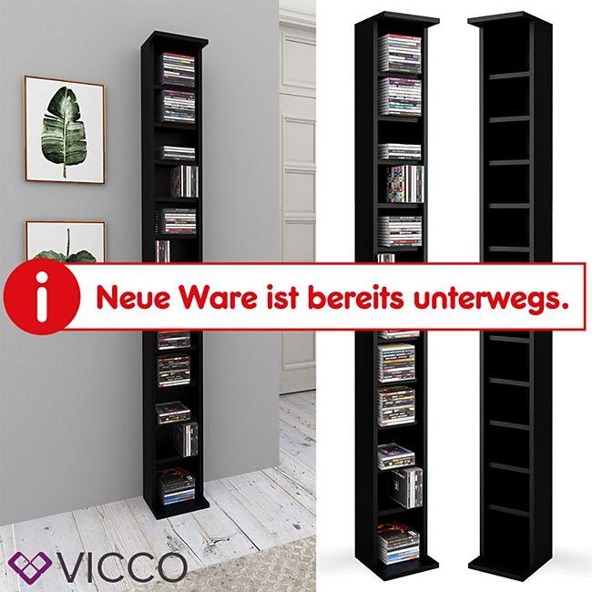 VICCO CD Regal DVD Ständer Schwarz Wandregal Hängeregal Bücherregal Büroregal - Bild 1