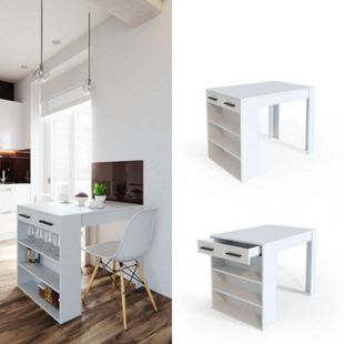 Vicco Bartisch Esstisch Tisch Bistrotisch Essplatz Schublade Regal Bar Weiß - Bild 1