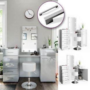 Vicco Schminktisch Zoe Frisiertisch Frisierkommode Spiegel Weiß Hochglanz inklusive Hocker und LED-Lichterkette - Bild 1