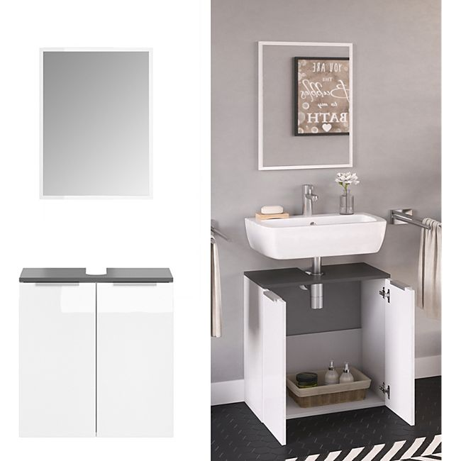 VICCO Badmöbel-Set OTIS Weiß - Waschtischunterschrank Spiegel - Bild 1