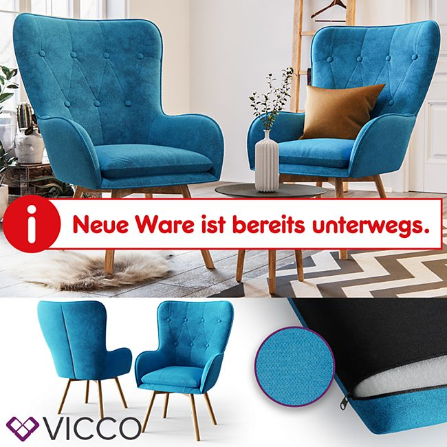VICCO Polsterstuhl 2er Set ERIK Esszimmerstuhl Stoff Blau Armlehnstuhl Holzbeine - Bild 1