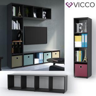 Vicco Raumteiler 4 Fächer Schwarz 144 x 36 cm - Standregal Hängeregal Regal TV Lowboard Sideboard - Bild 1