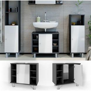 VICCO Waschbeckenunterschrank FYNN Weiß / Anthrazit - Badschrank Kommode Waschtisch Unterschrank - Bild 1