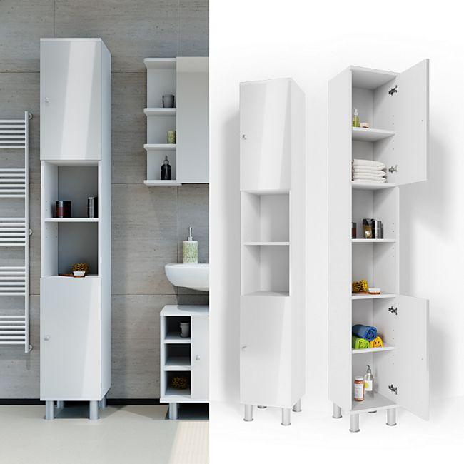 VICCO Badschrank Fynn 190 x 30 cm Weiß Hochglanz - Badezimmerschrank Hochschrank Schrank Badregal - Bild 1