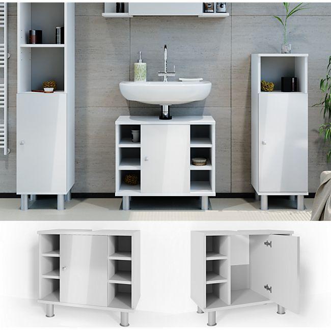 VICCO Waschbeckenunterschrank FYNN Weiß Hochglanz - Badschrank Kommode Waschtisch Unterschrank - Bild 1