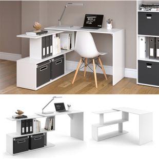Vicco Eckschreibtisch LEVIA Weiß - PC Tisch Arbeitstisch Computer Büro - Bild 1