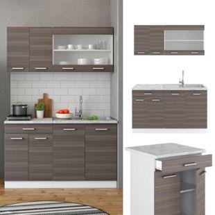 VICCO Küchenzeile SINGLE Einbauküche 140 cm Küche Edelgrau Anthrazit R-LINE - Bild 1