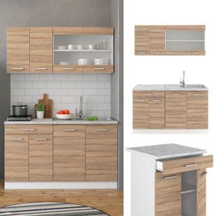 VICCO Küchenzeile SINGLE Einbauküche 140 cm Küche Sonoma Eiche R-LINE - Bild 1