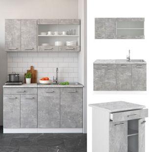 VICCO Küchenzeile SINGLE Einbauküche 140 cm Küche Beton R-LINE - Bild 1