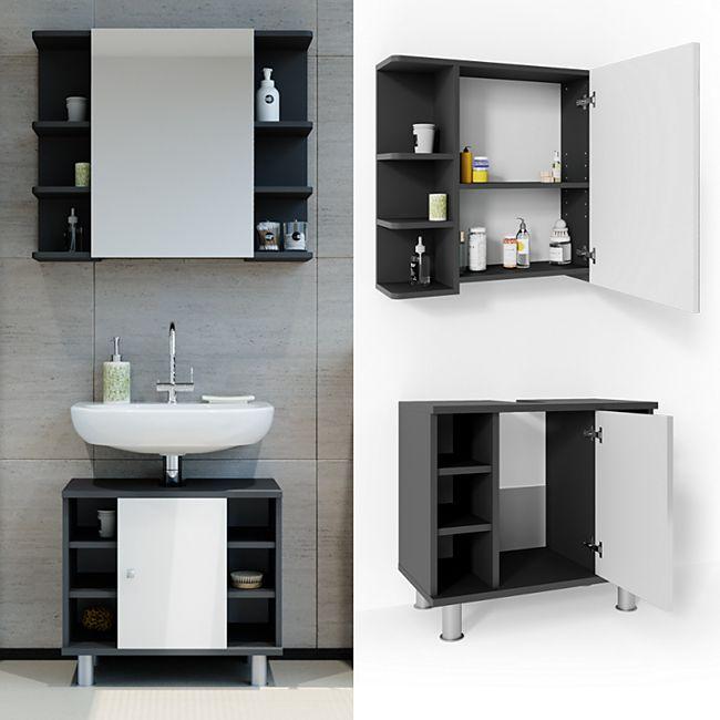 VICCO Badmöbel Set FYNN 2 Teile Anthrazit Weiß - Badezimmer Spiegel Badunterschrank Bad Badschrank - Bild 1