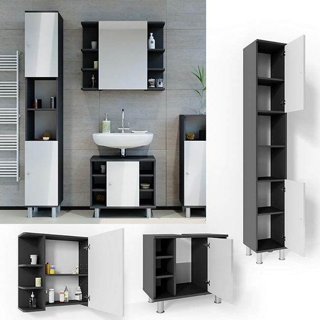 VICCO Badmöbel Set FYNN 3 Teile Anthrazit Weiß - Badezimmer Spiegel Badunterschrank Hochschrank - Bild 1