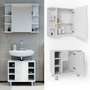 VICCO Badmöbel Set FYNN 2 Teile Weiß Hochglanz - Badezimmer Spiegel Badunterschrank Bad Badschrank - Bild 1
