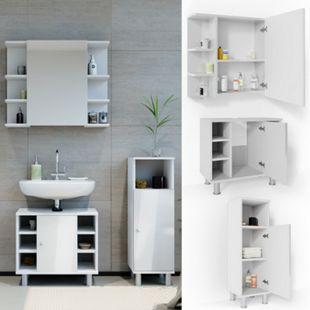 VICCO Badmöbel Set FYNN 3 Teile Weiß Hochglanz - Spiegel Waschbecken Unterschrank Beistellschrank - Bild 1